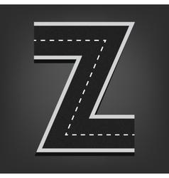 Z letter Road font vector image
