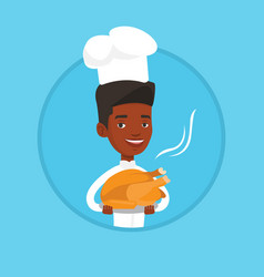 chief cooker holding roasted chicken vector image