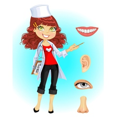 Cute doctor indicating that the part of face vector image vector image