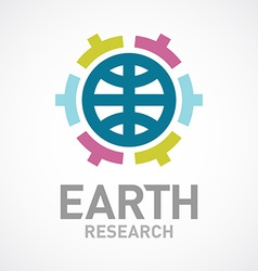 Earth research or care logo template Flat colors vector image vector image