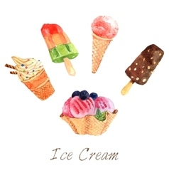 Ice Cream Watercolor Set vector image