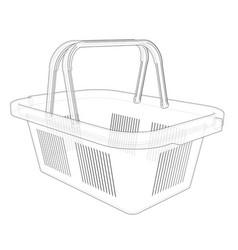 shopping basket sketch vector image vector image