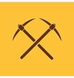 The pick icon pickax symbol flat vector