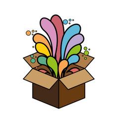 Box carton with ideas flow vector