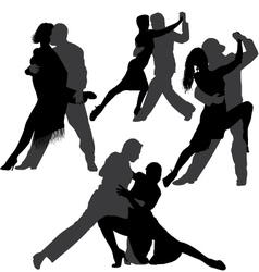 Couple dancing tango silhouette set vector image
