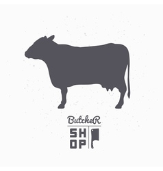 Cow silhouette Beef meat Butcher shop logo vector image