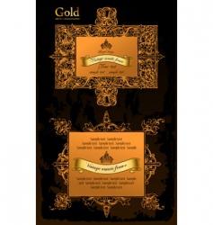 gold decorative frames ancient set vector image