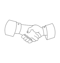 Handshake icon in outline style isolated on white vector image vector image