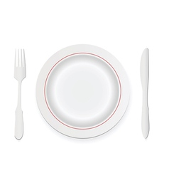 knife fork and plate vector image