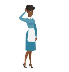 young african cleaner scratching her head vector image