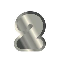 number 4 steel metal font four silver alphabet vector image