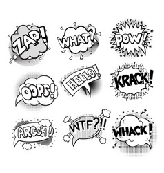 set of pop art style comic exclamations vector image