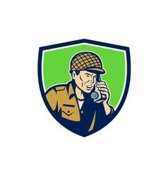 World War Two American Soldier Talk Radio Shield vector image