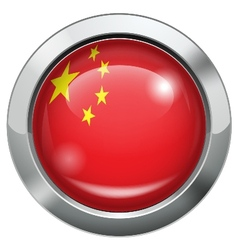 China flag metal button vector image