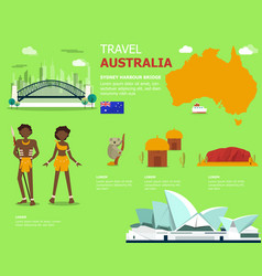 map of the australia and landmark icons for vector image