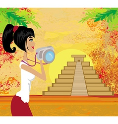 tourist photographs Mayan Pyramid vector image