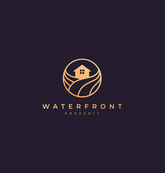 Apartment logo gold line with house in circle vector
