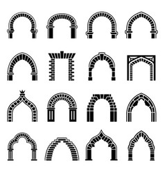 Arch types icons set simple style vector
