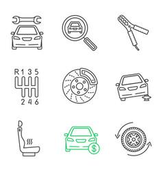 Auto workshop linear icons set vector