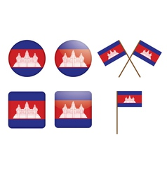 Badges with flag of cambodia vector