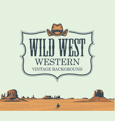 Banner with western prairies and cowboy vector