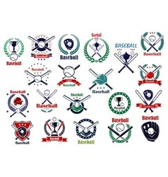 Baseball game sporting emblems and icons vector