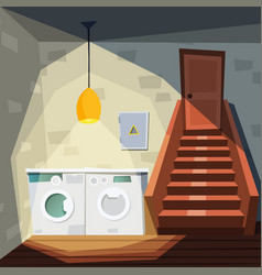 basement cartoon house room with basement with vector image