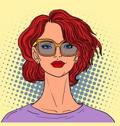 beautiful woman with red hair vector image