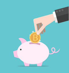 bitcoin hand piggy bank vector image