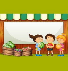 Blank banner with three kids in fruit market theme vector