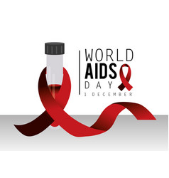 Blood and red ribbon to world aids day vector