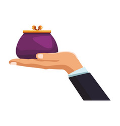 businessman hand with purse vector image