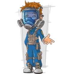Cartoon cool guy in blue gas mask vector image