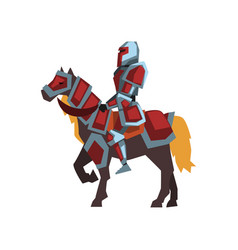 cartoon icon of knight on horseback royal horse vector image