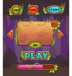 Cartoon wooden game user interface vector