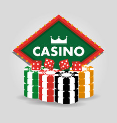 casino billboard dice and chips gamble poster vector image