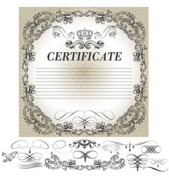 certificate design with calligraphic elements vector image