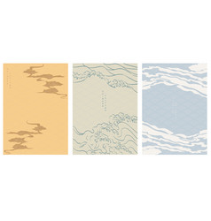 Chinese template with wave pattern cloud and vector