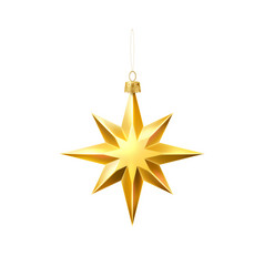 christmas tree golden star realistic toy vector image