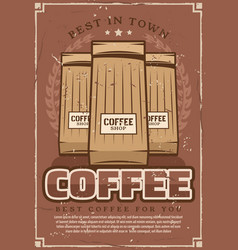 Coffeeshop retro poster with ground coffee packs vector