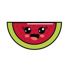 Color kawaii happy watermelon icon vector