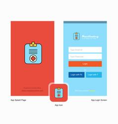 Company medical clipboard splash screen and login vector