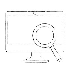 computer display with magnifying glass vector image