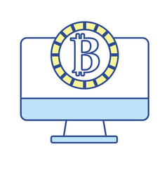 computer technology with bitcoin currency inside vector image