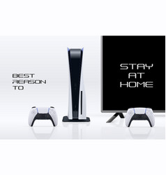 console gaming banner concept with stay at home to vector image