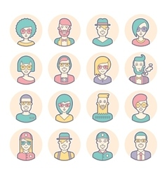 Creative set of round avatars Thin lines vector