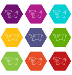 Cute pig icons set 9 vector