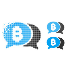 Disintegrating dotted halftone bitcoin chat icon vector