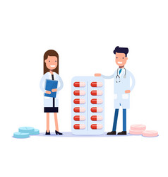 doctors man woman are standing near medications vector image
