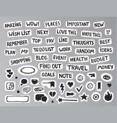 Drawing bullet journal stickers vector